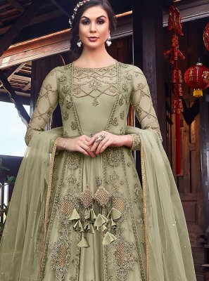 Net Sea Green Resham Long Length Anarkali Salwar Suit