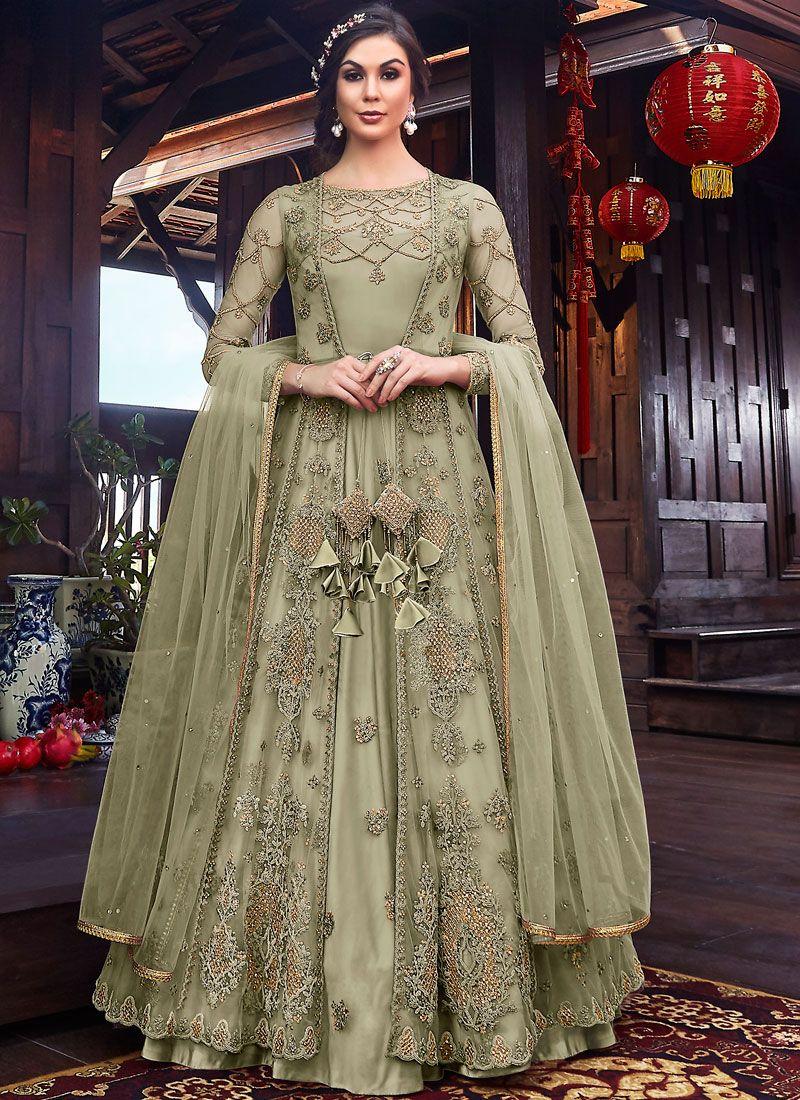 Net Sea Green Resham Long Length Anarkali Salwar Suit