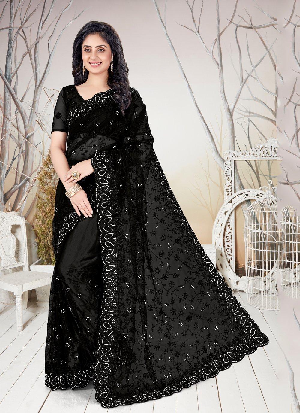 Net Stone Black Traditional Saree