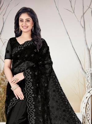 Net Stone Black Traditional Saree