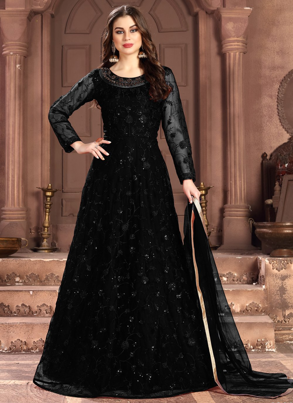 Net Thread Black Salwar Suit