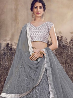 Net Thread Grey A Line Lehenga Choli