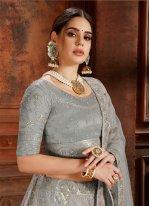 Net Thread Grey Designer Lehenga Choli