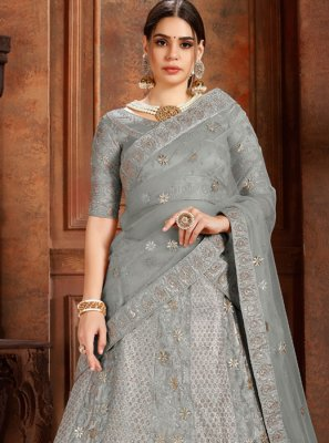 Net Thread Grey Designer Lehenga Choli