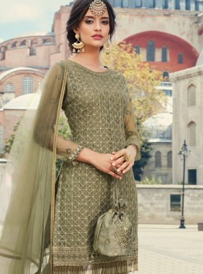 Net Thread Work Palazzo Salwar Suit in Green