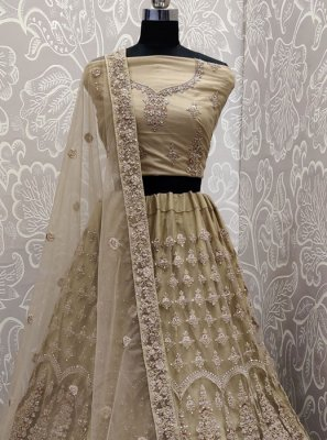Net Trendy A Line Lehenga Choli in Beige