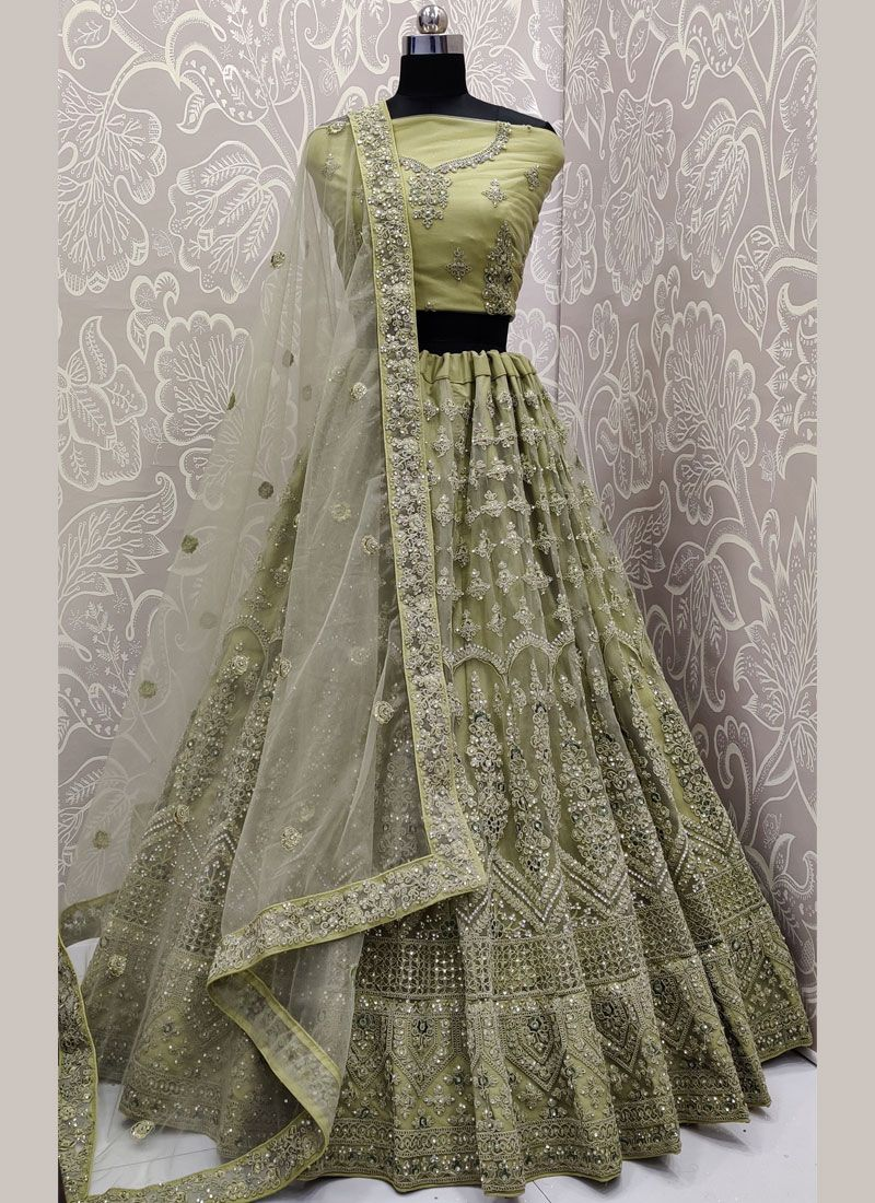 Net Trendy A Line Lehenga Choli in Sea Green