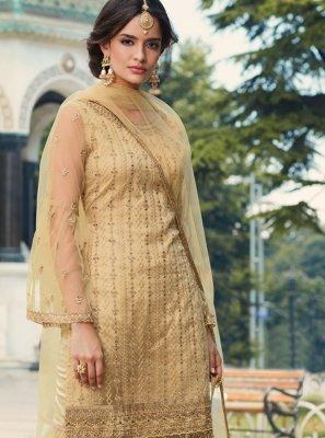 Net Trendy Palazzo Salwar Suit in Cream