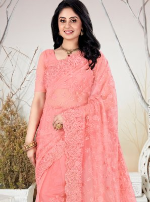 Net Trendy Saree in Peach