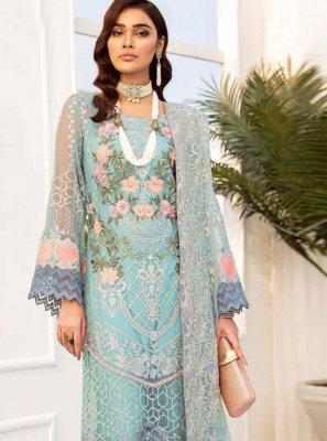 Net Turquoise Designer Palazzo Salwar Suit