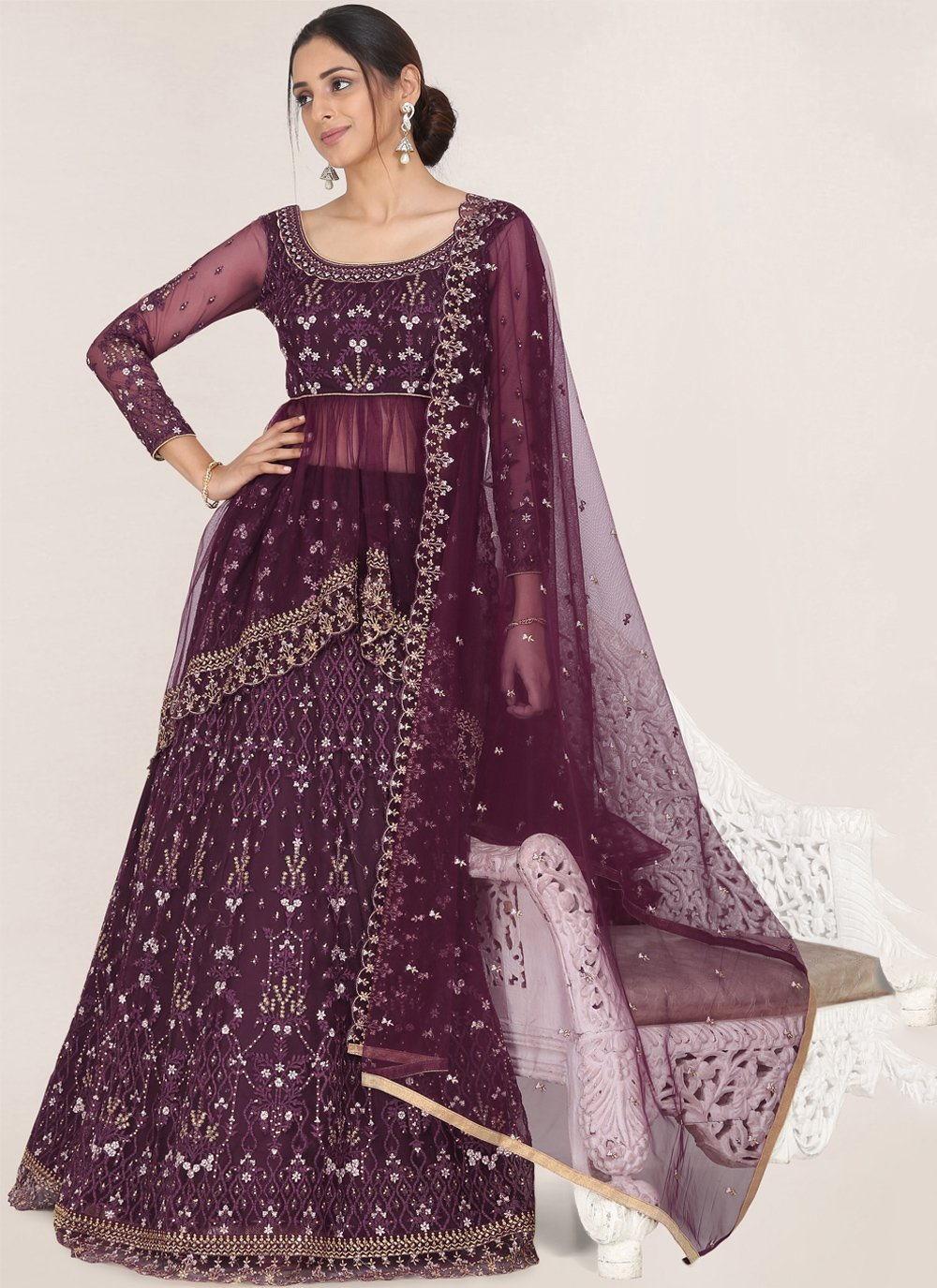 Net Wedding A Line Lehenga Choli