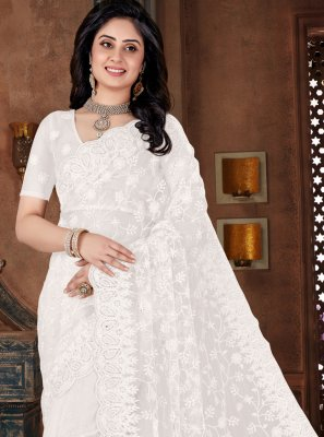 Net White Bollywood Saree