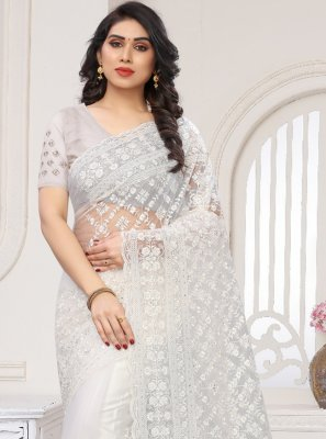 Net White Traditional Designer Saree
