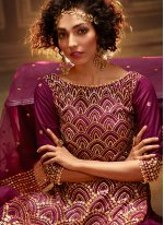 Net Wine Sequins Trendy Palazzo Suit