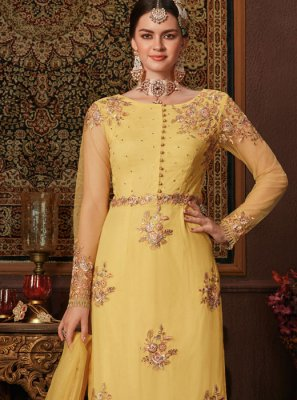 Net Yellow Salwar Kameez
