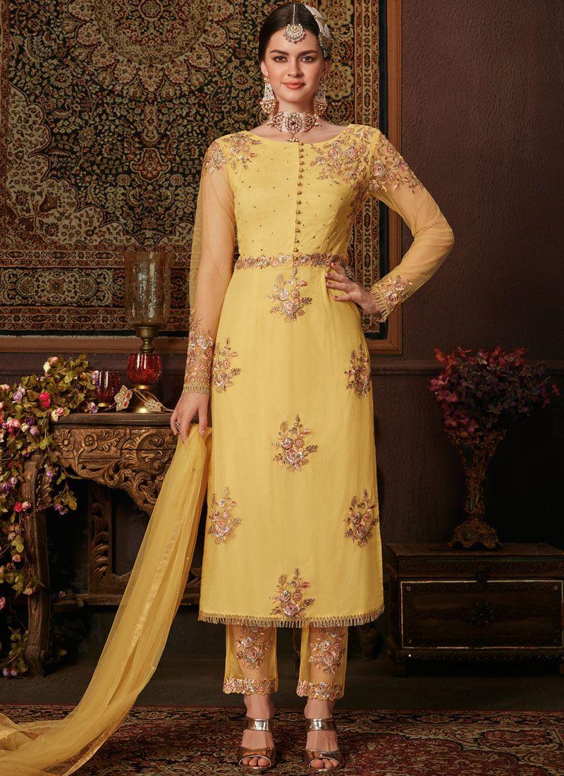 Net Yellow Salwar Kameez