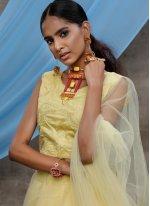 Net Yellow Sequins Bollywood Lehenga Choli