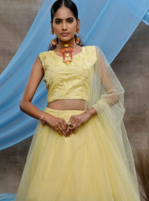 Net Yellow Sequins Bollywood Lehenga Choli