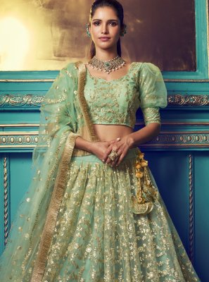 Net Zari Designer Lehenga Choli in Green