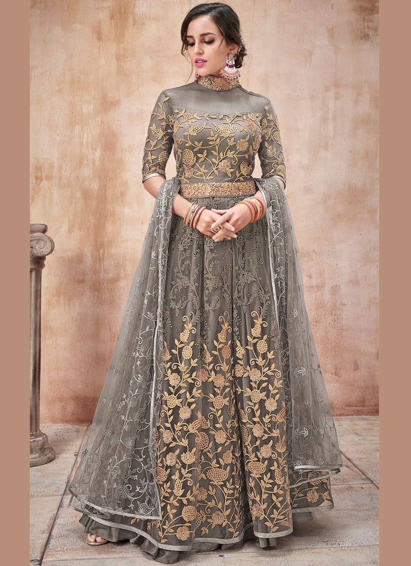 Net Zari Grey Designer Salwar Suit