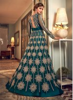 Net Zari Long Length Designer Anarkali Suit in Blue