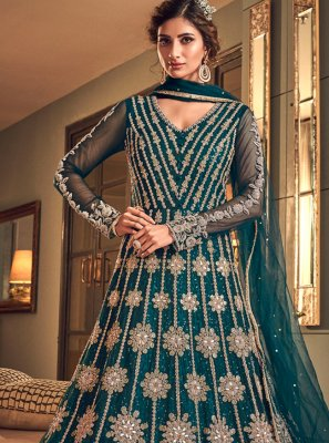 Net Zari Long Length Designer Anarkali Suit in Blue
