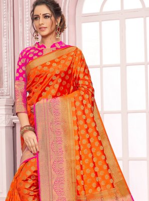 Nylon Orange Classic Saree