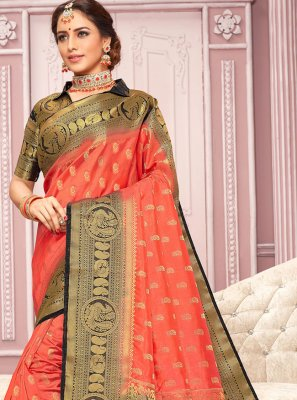 Nylon Weaving Peach Classic Designer Saree