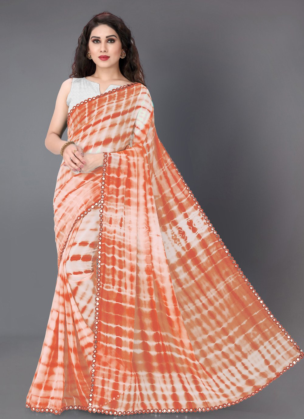 Off White and Orange Printed Festival Trendy Saree