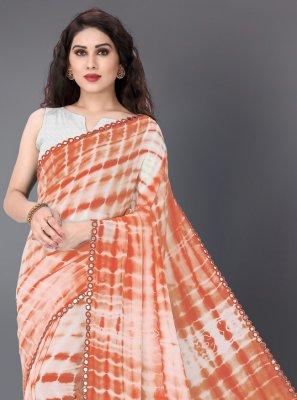 Off White and Orange Printed Festival Trendy Saree