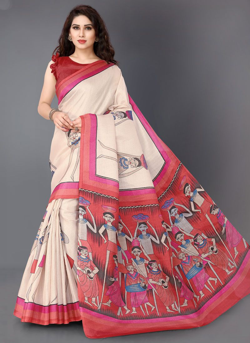 Off White and Red Khadi Silk Casual Saree