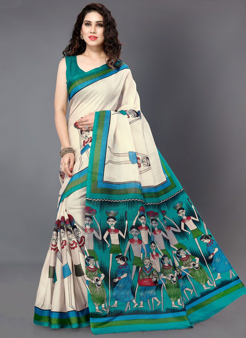 Off White and Turquoise Khadi Silk Printed Saree