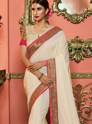 Off White Art Silk Silk Saree