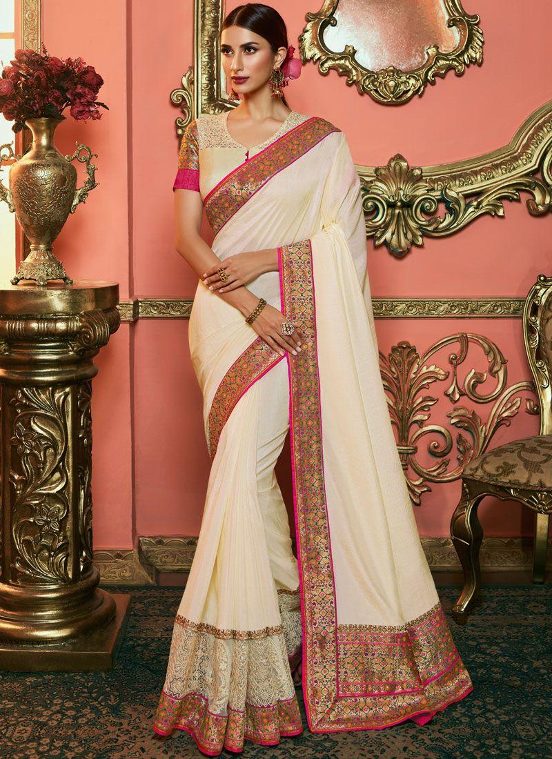 Off White Art Silk Silk Saree
