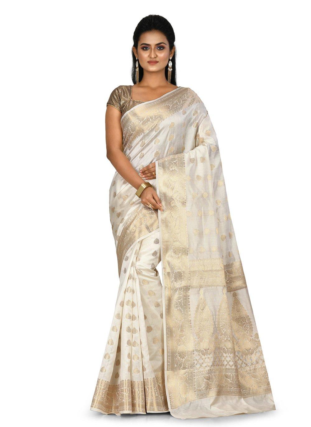Off White Banarasi Silk Traditional Saree