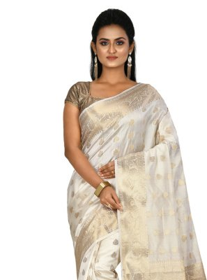 Off White Banarasi Silk Traditional Saree