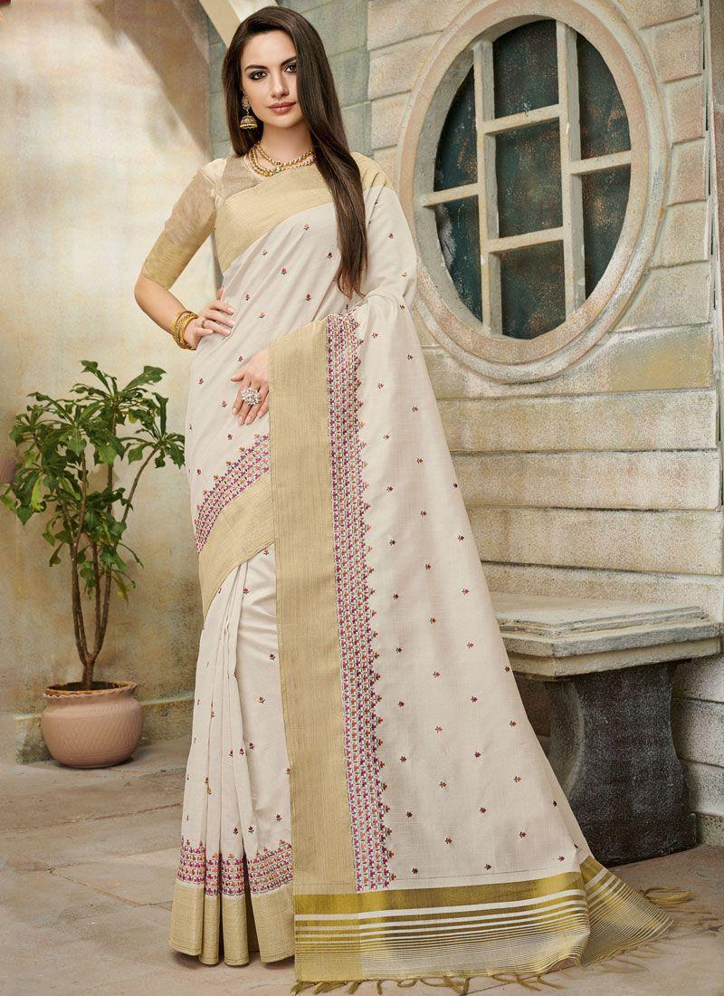 Off White Casual Cotton Silk Classic Saree