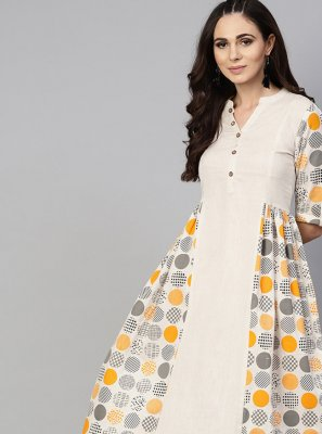 Off White Cotton Casual Kurti