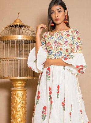 Off White Cotton Designer Palazzo Suit