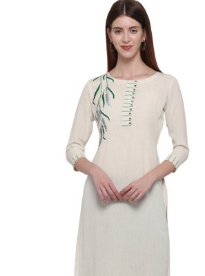 Off White Cotton Party Casual Kurti