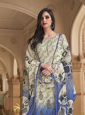 Off White Cotton Party Salwar Kameez
