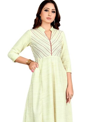 Off White Cotton Plain Casual Kurti