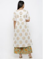Off White Cotton Print Salwar Kameez