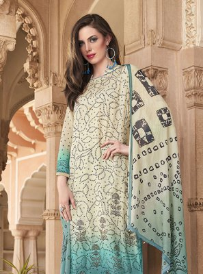 Off White Cotton Printed Salwar Kameez