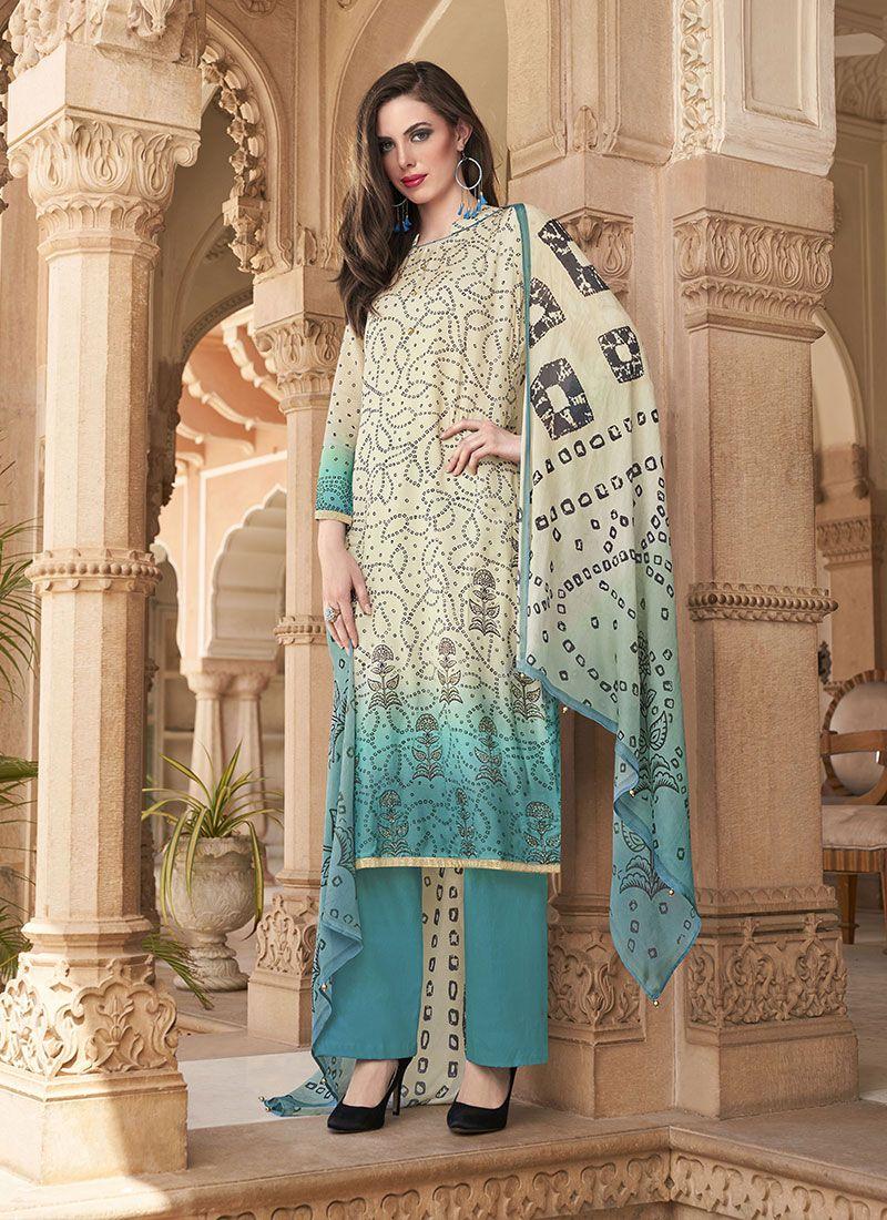 Off White Cotton Printed Salwar Kameez