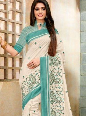 Off White Cotton Silk Festival Trendy Saree