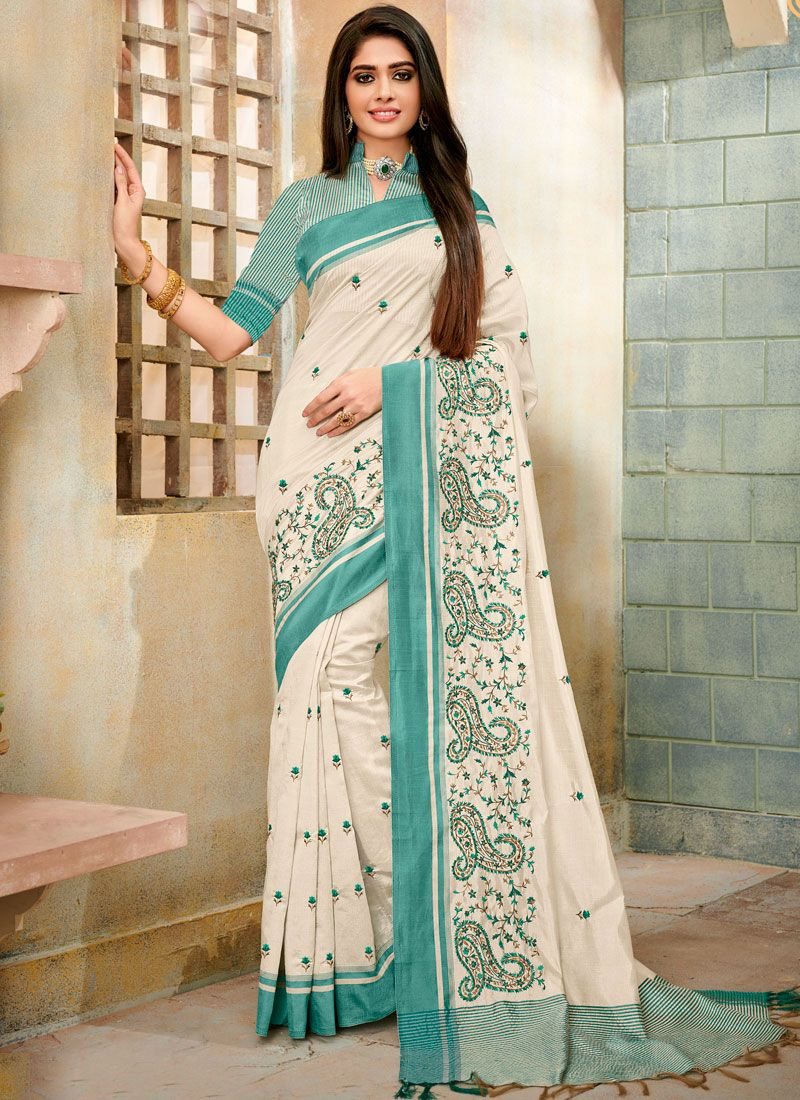 Off White Cotton Silk Festival Trendy Saree