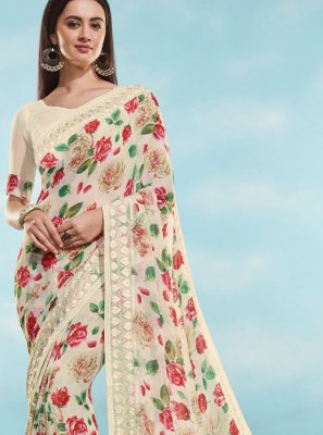 Off White Digital Print Georgette Casual Saree