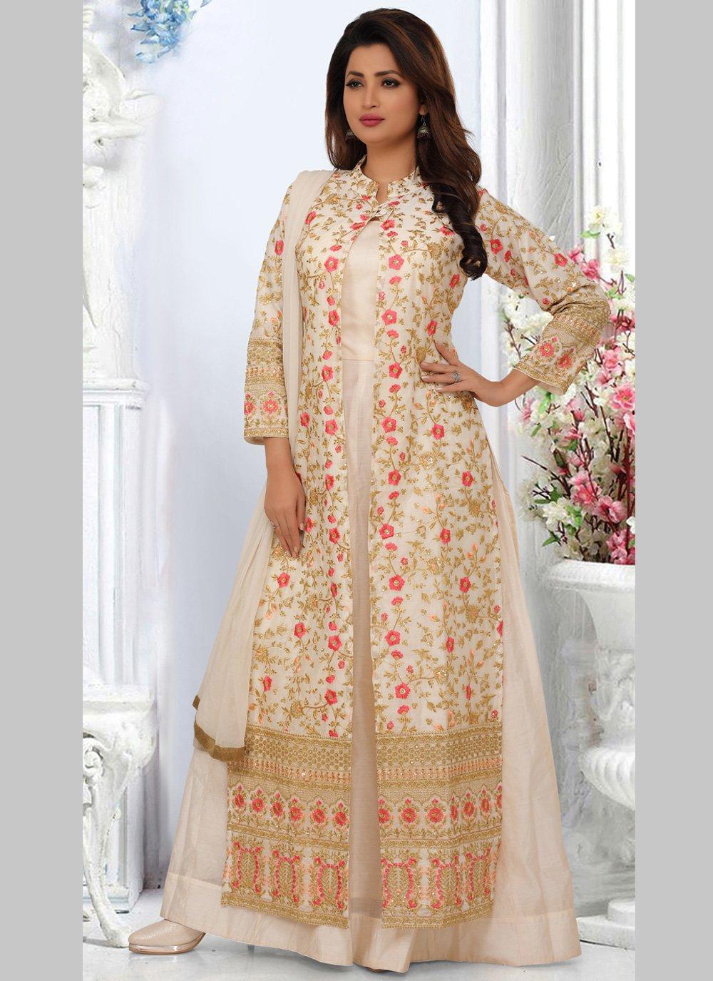 Off White Embroidered Bollywood Salwar Kameez
