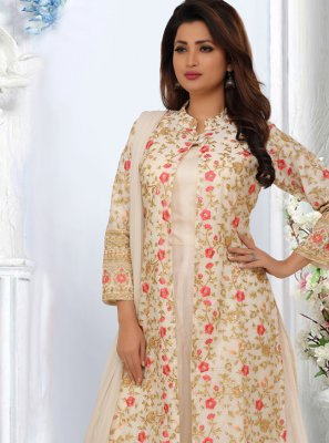 Off White Embroidered Bollywood Salwar Kameez